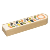 Wooden Pencil Box with Linear Stem Flower Print by Orla Kiely