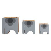 3 Piece Wooden Desk Set  - Ela Elephant By Orla Kiely