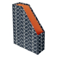 Magazine Box File Navy Linear Stem Print By Orla Kiely