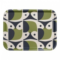 Orla Kiely Owl Print Tray in Green & Navy