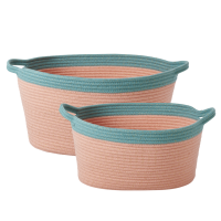 Oval Rope Coral and Petrol Blue Storage Baskets By Rice DK