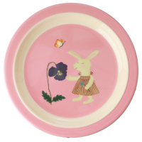 Pink Bunny Rabbit Print Kids Melamine Plate By Rice DK