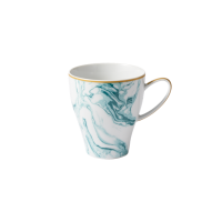 Porcelain Large Shaped Mug With Marble Print in Jade By Rice DK