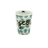 Porcelain Cup with Palm Leaves & Yes Print By Rice DK