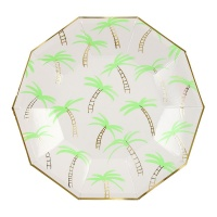 Palm Tree Print Large Paper Lunch Plates  By Meri Meri