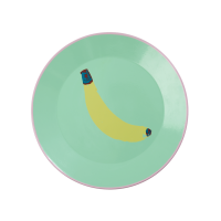 Pastel Green Enamel Plate With Banana Print Rice DK