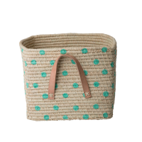 Natural Raffia Square Basket Hand Painted Pastel Green Spots Rice DK