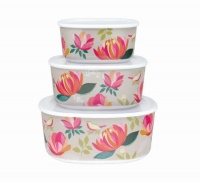 Peony Print Set of 3 Melamine Storage Containers By Sara Miller