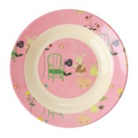 Pink Bunny Rabbit Print Kids Melamine Bowl By Rice DK