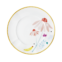 Porcelain Lunch or Cake Plate Pink Chamomile Print By Rice DK