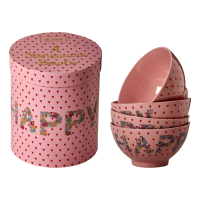 Set of 4 Pink Happy Printed Stoneware Bowls By Rice DK