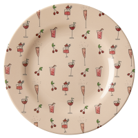 Pink Cocktail Print Melamine Side Plate Rice DK