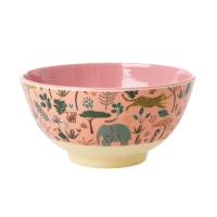 Jungle Animal Print Melamine Bowl Coral Pink Background Rice DK