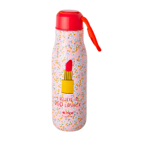 Pink Flower & Lipstick  Print Stainless Steel Water Bottle By Rice DK