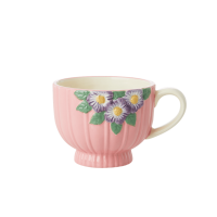 Ceramic Mug with Embossed Pink Flower Design Rice DK