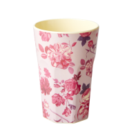 Pink Rose Print Tall Melamine Cup By Rice DK