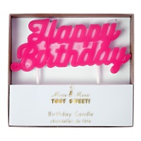 Pink Happy Birthday Candle By Meri Meri