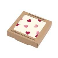 Set of 4 Pink Heart Print Drink Coasters By Emma Bridgewater
