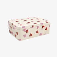 Pink Heart Print Deep Rectangular Tin Emma Bridgewater