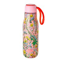 Pink Lupin Print Stainless Steel Water Bottle By Rice DK