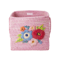 Raffia Square Basket Embroidered Flowers In Pink By Rice