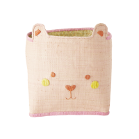 Pink Raffia Storage Basket With Cute Bear Face By Rice DK