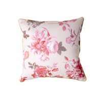 Pink Rose Print Small Cushion Rice DK