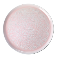 Pink Enamel Embossed Detail Round Tray By Rice DK