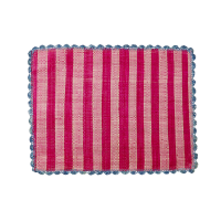 Raffia Placemat Fuchsia & Pink Stripe Blue Crochet Border Rice