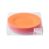 Set of 6 Pink and Orange Side or Kids Plates By Rice DK
