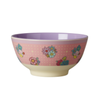 Pink Flower Stitch Print Melamine Bowl With Lavender Rice DK