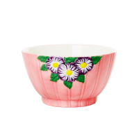 Ceramic Bowl with Embossed Pink Flower Design Rice DK