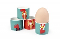 Set of 4 Plucky Chicken China Egg Cups