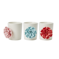 White Porcelain Pot with pretty Flower by Rice DK