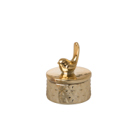 Gold Porcelain Trinket Box With Bird on Lid by Rice DK