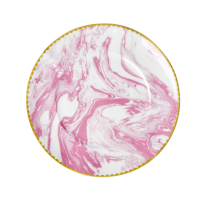 Porcelain Lunch or Cake Plate Marble Print in Bubblegum Pink By Rice DK
