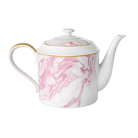 Porcelain Teapot With Marble Print In Bubblegum Pink By Rice DK