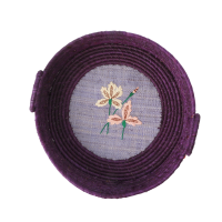 Round Raffia Bread Basket Purple Embroidered Iris Rice DK