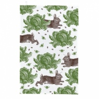 Rabbit & Cabbage Print Tea Towel Thornback & Peel