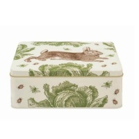 Rabbit & Cabbage Print Rectangular Tin Thornback & Peel