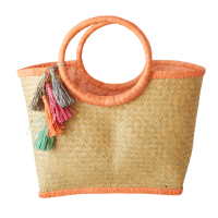 Raffia Shopping Basket in Coral with Tassels By Rice DK