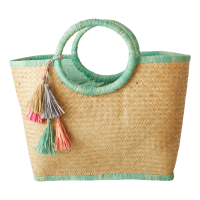 Raffia Shopping Basket in Sage Green with Tassels By Rice DK