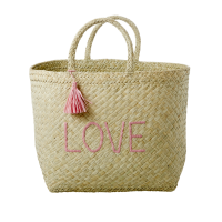 Natural Raffia Shopping Basket LOVE & Soft Pink Tassel By Rice DK