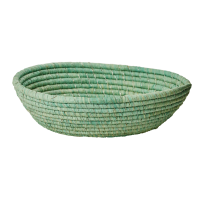 Large Oval Raffia Bread Basket Pastel Green Rice DK