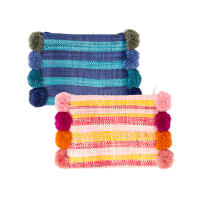 Raffia Clutch with Pom Poms Pink or Blue By Rice Dk