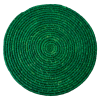 Raffia Large Round Placemat Coaster In Green By Rice DK