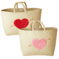 Natural Raffia Shopping Basket with Heart By Rice DK