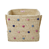 Embroidered Dots Square Raffia Basket With Handles Rice