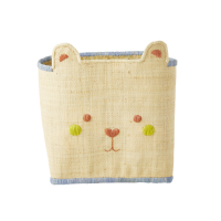 Natural & Blue Raffia Storage Basket With Cute Bear Face By Rice DK