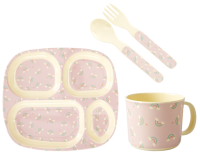 Rainbow Print Baby 4 Piece Melamine Dinner Set in Gift Box By Rice